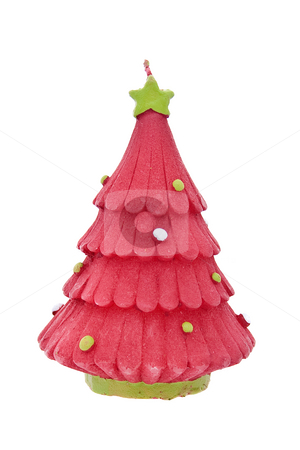 Christmas-tree candle stock photo, Candle in the form of Christmas tree by Tatsiana Amelina