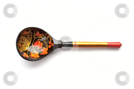 Russian wooden spoon stock photo, Russian wooden spoon on the white background by Tatsiana Amelina