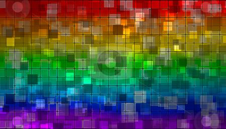 Rainbow mosaic stock photo, Rainbow mosaic from various shiny little squares by Milos Pavlovsky