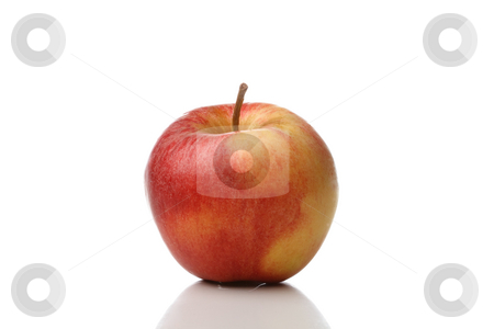 Apple stock photo, A colored apple isolated on white background by Alexander Zschach