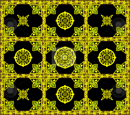Christian orthodox pattern stock vector clipart, Vector ornament with geometric and and floral elements by Onyshchenko Viktor