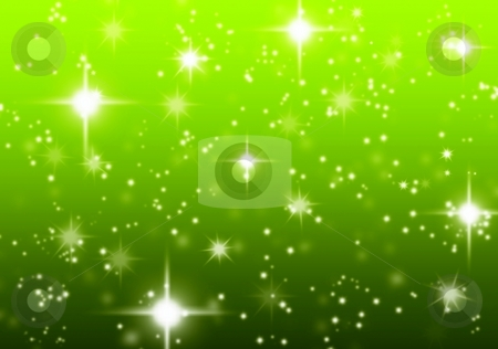 Green starry background stock photo, Out of focus green Christmas starry background. by Gowtum Bachoo