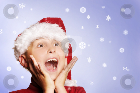 Magical Christmas stock photo, Boy amongst the snowflakes.   Let it snow, let it snow, let it snow by Leah-Anne Thompson