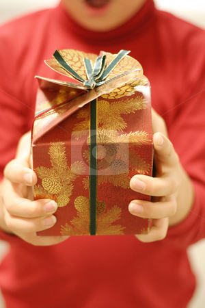 Christmas Giving stock photo, Giving gifts at Christmas.  Focus on the gift by Leah-Anne Thompson