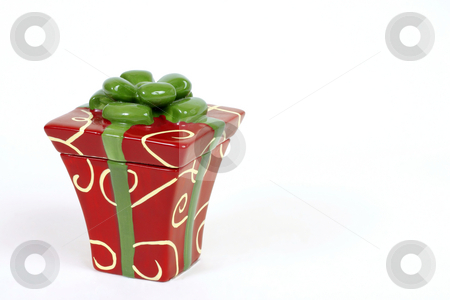 Christmas package present stock photo, Small gift package with space for copy by Leah-Anne Thompson