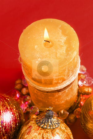 Christmas Candle stock photo,  by Leah-Anne Thompson