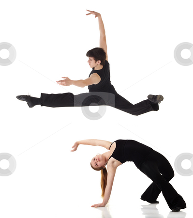 Modern Jazz dancers stock photo, Young caucasian Modern Jazz dancers in a black top and black pants on a white background displaying various positions. NOT ISOLATED by Sean Nel
