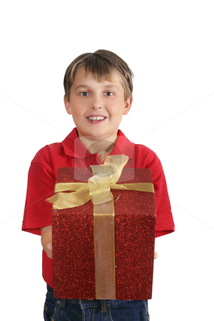 Presenting a gift stock photo, Child in red polo shirt and blue jeans presenting a gift by Leah-Anne Thompson