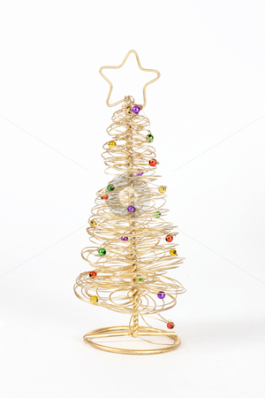 Wire Christmas Tree stock photo, A small golden wire christmas tree by Leah-Anne Thompson