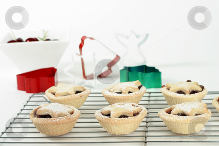 Fruit Tarts stock photo, Small fruit tarts with festive star tops dusted with icing sugar sitting on a wire cooler.  Focus on foreground. by Leah-Anne Thompson