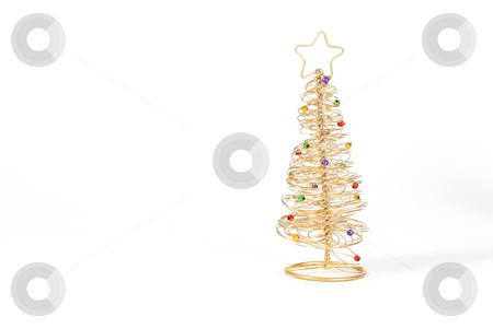 Golden Christmas Tree stock photo, Gold wired Christmas tree on white background. by Leah-Anne Thompson