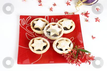 Fruit Tarts stock photo, Christmas tarts on a decorative plate with ornamental Australian Christmas bush flowers. by Leah-Anne Thompson
