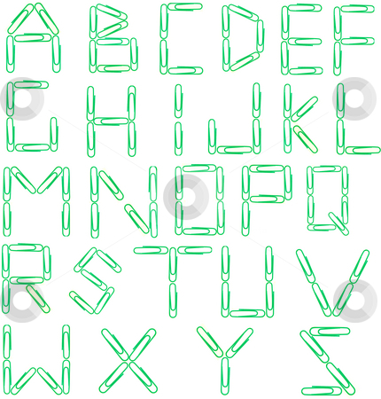 Green paper clip alphabet stock photo, Isolated photo image of gren paper clips arranged to form letters of the alphabet. by P.J. Lalli