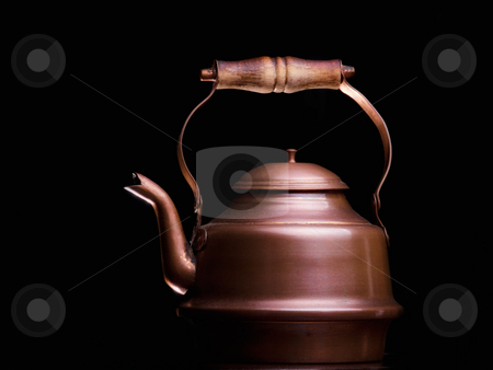 Copper teapot stock photo, Copper teapot isolated on a black background. by Sinisa Botas
