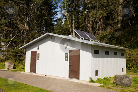 Park Restrooms stock photo, Public restrooms at La Push beach in Forks, Washington by Travis Manley
