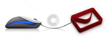 E-mail icon stock photo, A 3d illustration of an E-mail icon with computer mouse by Seeni Vasagams