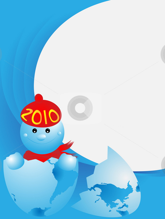 NEW 2010 YEAR stock photo, The image of New Year born from egg in the form of the globe by Alina Starchenko