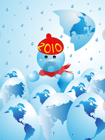 NEW YEAR WAS BORN stock photo, The image of New Year born from egg in the form of the globe by Alina Starchenko