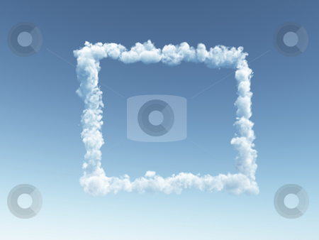 Cloudy frameborder stock photo, Clouds forms a frame border in the sky - 3d illustration by J?