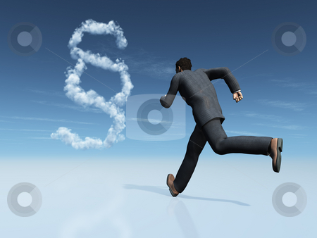 Justice stock photo, Runner and cloudy paragraph symbol - 3d illustration by J?