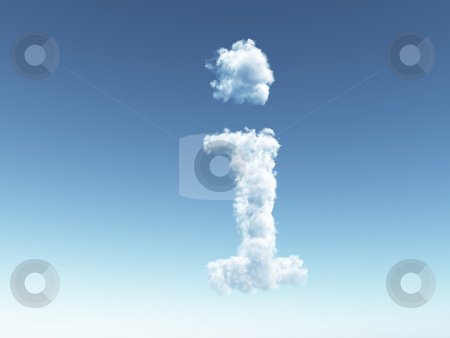 Cloudy i stock photo, Clouds make the shape of letter i in the sky - 3d illustration by J?
