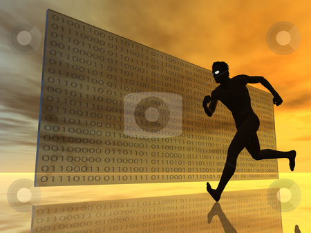 Binary stock photo, Runner in front of glasswall with binary code - 3d illustration by J?