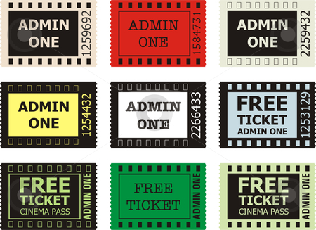 Admit One Cinema Ticket  stock vector clipart, Admit One Cinema Ticket, vector on White Background by Čerešňák
