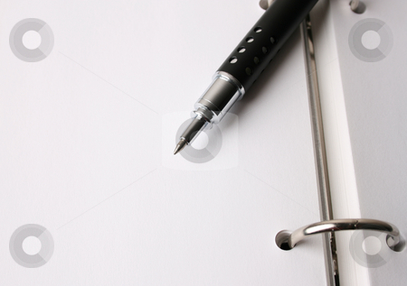 Fancy Pen stock photo, Fancy pen on a small file with white pages by Vanessa Van Rensburg
