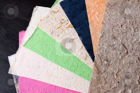 Handmade Paper Sheets stock photo, Different colored Handmade paper with various textures by Vanessa Van Rensburg