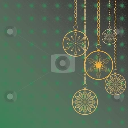 Merry christmas stock vector clipart, Christmas flakes on a green background, card, vector by Čerešňák