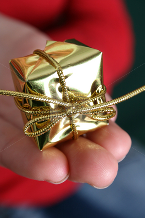 Christmas Present stock photo, Small Golden christmas decoration held in the palm by Vanessa Van Rensburg