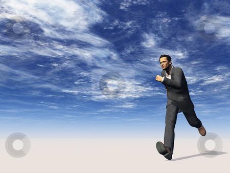 Running man stock photo, Running man under cloudy blue sky - 3d illustration by J?