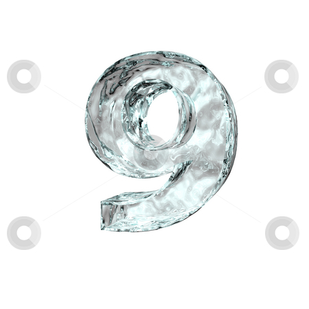 Frozen number nine stock photo, Frozen number nine - 9 - on white background - 3d illustration by J?