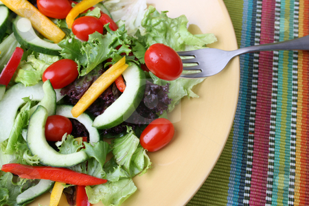 Salad with tomato stock photo, Fresh colorful salad with cherrie tamatoes and cucumber by Vanessa Van Rensburg