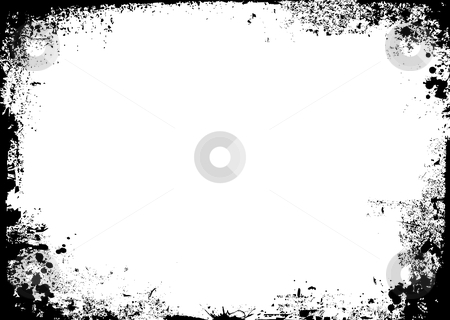 Gravity splat stock vector clipart, Black and white ink splat border in landscape by Michael Travers