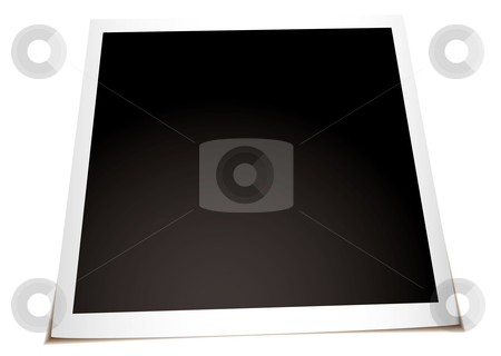 Instant photo flat stock vector clipart, Instant photograph with shadow laying on a flat surface by Michael Travers