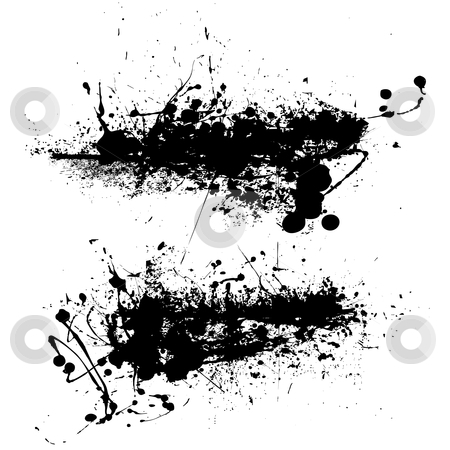 Scraggy grunge stock vector clipart, Two ink splat designs in black with speckled effect by Michael Travers