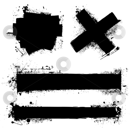 Grunge splat element stock vector clipart, Black ink splat with roller marks and grunge effect by Michael Travers