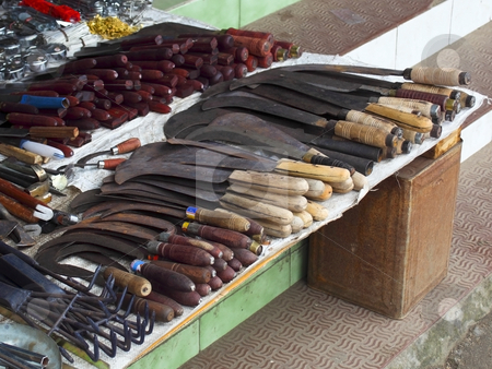 Hardware stall stock photo, A hardware stall in the peoples market of munnar town south india by Mike Smith