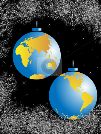 Christmas balls-planet stock photo, Christmas spheres in the form of the globe and congestion of stars against the night sky by Alina Starchenko