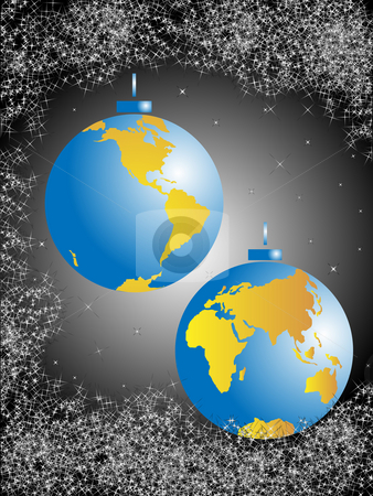 Christmas balls-globe stock photo, Christmas spheres in the form of the globe and congestion of stars against the night sky by Alina Starchenko