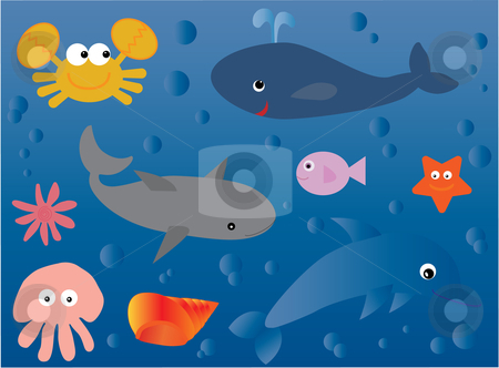Underwater world stock vector clipart, Vector illustration of a collection of marine life in a cute style suitable for children by Rachel Gordon
