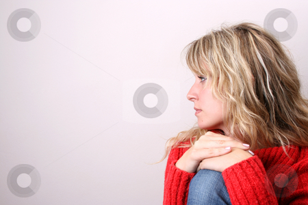Blond Model in Red stock photo, Blond Female model on a white background wearing a blue top by Vanessa Van Rensburg