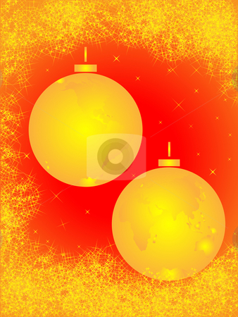 Christmas golden balls stock photo, Christmas spheres in the form of the globe and congestion of stars by Alina Starchenko