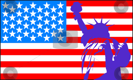 Statue of liberty with American flag  stock vector clipart, Statue of liberty with American flag by Sergey Gorodenskiy