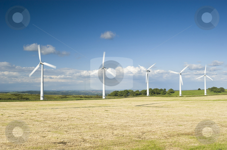 Wind Farm Yorkshire stock photo, Power generation wind farm 35m in height to the hub and have a rotor diameter of 37m fossil fuel power stations in background by Stephen Meese