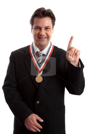 Number One in Business stock photo, Businessman, corporate high achiever, business awards or number one in business. by Leah-Anne Thompson