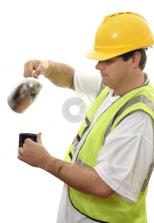 Workman Coffee Break stock photo, Workman having a tea break by Leah-Anne Thompson