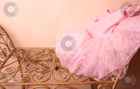 Ballet Costume stock photo, Pink Ballet Tutu on a wraught iron bench by Vanessa Van Rensburg