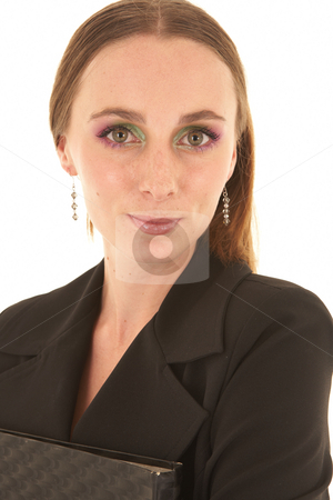 Young Caucasian businesswoman stock photo, Young adult caucasian businesswoman in a dark suit standing on a white background with a file in her hands. NOT ISOLATED by Sean Nel